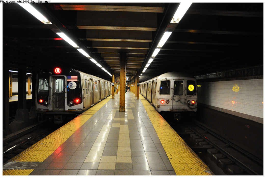 (217k, 1044x700)<br><b>Country:</b> United States<br><b>City:</b> New York<br><b>System:</b> New York City Transit<br><b>Line:</b> BMT 4th Avenue<br><b>Location:</b> 36th Street <br><b>Route:</b> N<br><b>Car:</b> R-160B (Kawasaki, 2005-2008)  8842 <br><b>Photo by:</b> Zach Summer<br><b>Date:</b> 10/22/2009<br><b>Notes:</b> With R46 R 5566<br><b>Viewed (this week/total):</b> 3 / 2319