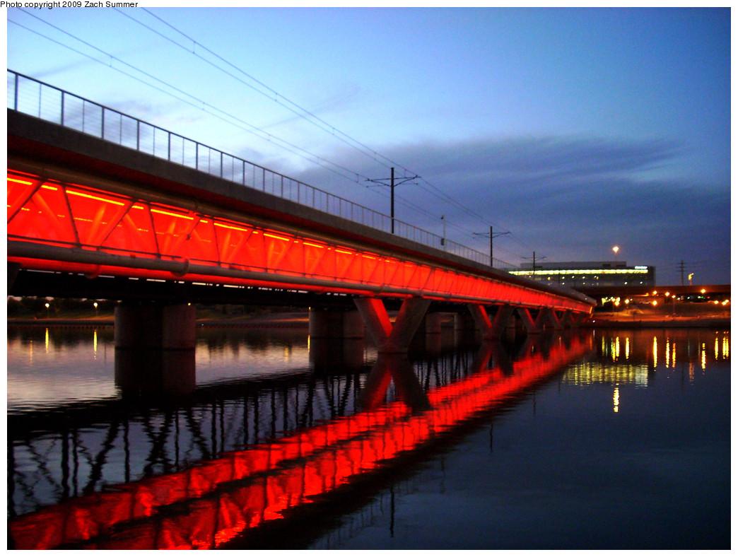 (272k, 1044x788)<br><b>Country:</b> United States<br><b>City:</b> Phoenix/Tempe, AZ<br><b>System:</b> Valley Metro <br><b>Location:</b> Salt River Bridge <br><b>Photo by:</b> Zach Summer<br><b>Date:</b> 10/10/2009<br><b>Notes:</b> Salt River Bridge lighting rotates colors.<br><b>Viewed (this week/total):</b> 0 / 416