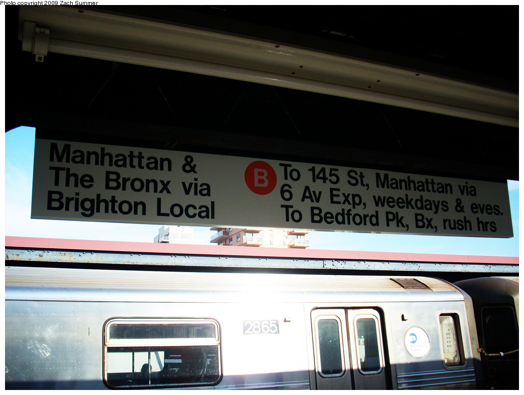 (211k, 1044x788)<br><b>Country:</b> United States<br><b>City:</b> New York<br><b>System:</b> New York City Transit<br><b>Line:</b> BMT Brighton Line<br><b>Location:</b> Brighton Beach <br><b>Photo by:</b> Zach Summer<br><b>Date:</b> 10/22/2009<br><b>Notes:</b> New Temporary B Train destination sign depicting Brighton Local Service.<br><b>Viewed (this week/total):</b> 0 / 879