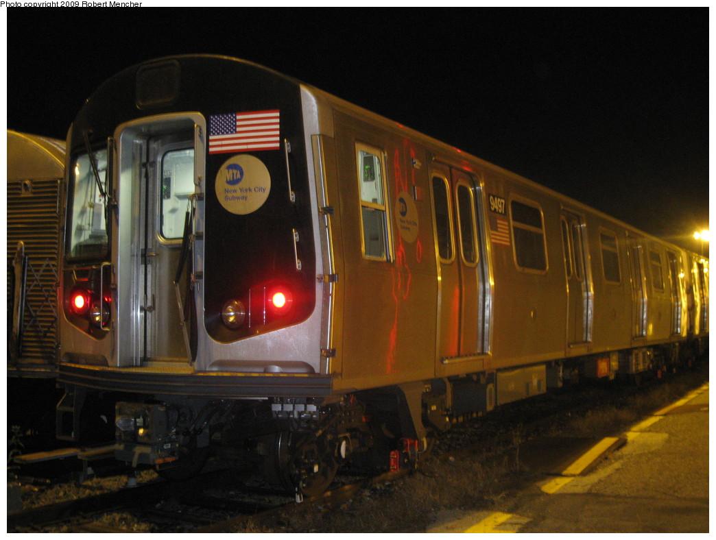 (195k, 1044x788)<br><b>Country:</b> United States<br><b>City:</b> New York<br><b>System:</b> New York City Transit<br><b>Location:</b> Jamaica Yard/Shops<br><b>Car:</b> R-160A (Option 1) (Alstom, 2008-2009, 5 car sets)  9497 <br><b>Photo by:</b> Robert Mencher<br><b>Date:</b> 11/3/2009<br><b>Viewed (this week/total):</b> 1 / 717