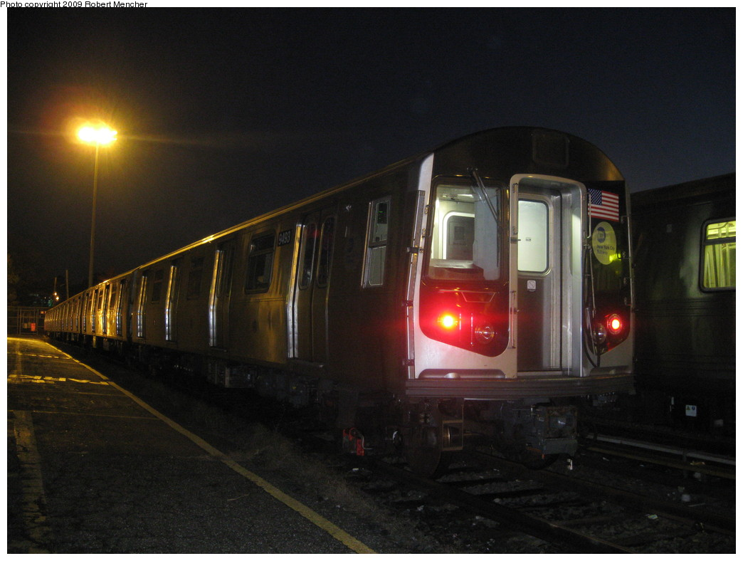 (181k, 1044x788)<br><b>Country:</b> United States<br><b>City:</b> New York<br><b>System:</b> New York City Transit<br><b>Location:</b> Jamaica Yard/Shops<br><b>Car:</b> R-160A (Option 1) (Alstom, 2008-2009, 5 car sets)  9493 <br><b>Photo by:</b> Robert Mencher<br><b>Date:</b> 11/3/2009<br><b>Viewed (this week/total):</b> 1 / 1013
