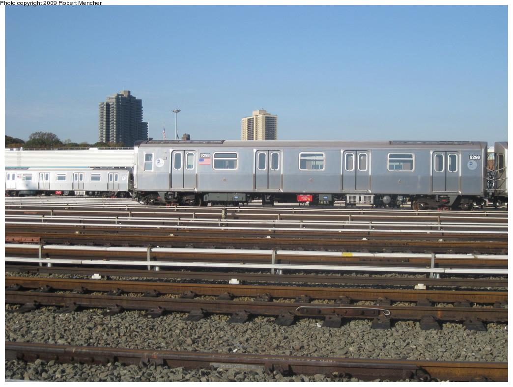 (221k, 1044x788)<br><b>Country:</b> United States<br><b>City:</b> New York<br><b>System:</b> New York City Transit<br><b>Location:</b> Jamaica Yard/Shops<br><b>Car:</b> R-160A (Option 1) (Alstom, 2008-2009, 5 car sets)  9298 <br><b>Photo by:</b> Robert Mencher<br><b>Date:</b> 11/3/2009<br><b>Viewed (this week/total):</b> 1 / 910