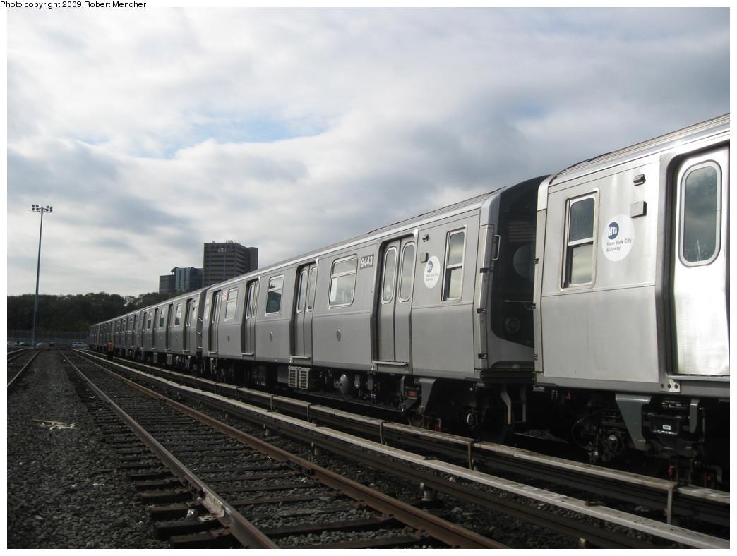 (176k, 1044x788)<br><b>Country:</b> United States<br><b>City:</b> New York<br><b>System:</b> New York City Transit<br><b>Location:</b> Jamaica Yard/Shops<br><b>Car:</b> R-160A (Option 1) (Alstom, 2008-2009, 5 car sets)  9443 <br><b>Photo by:</b> Robert Mencher<br><b>Date:</b> 11/3/2009<br><b>Viewed (this week/total):</b> 0 / 811
