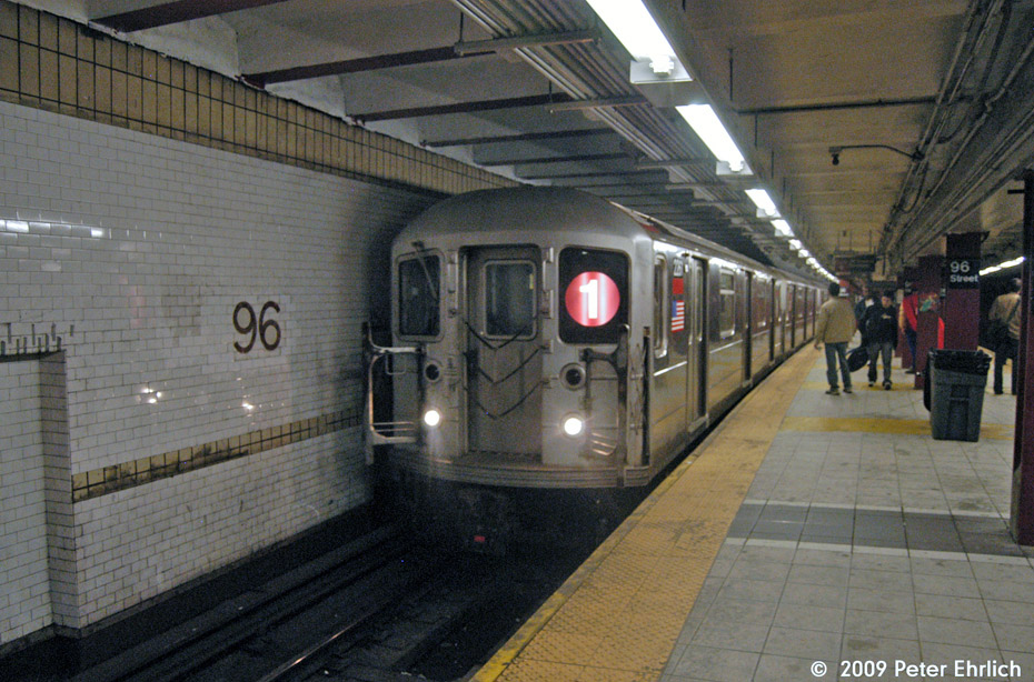 (216k, 930x614)<br><b>Country:</b> United States<br><b>City:</b> New York<br><b>System:</b> New York City Transit<br><b>Line:</b> IRT West Side Line<br><b>Location:</b> 96th Street <br><b>Route:</b> 1<br><b>Car:</b> R-62A (Bombardier, 1984-1987)  2261 <br><b>Photo by:</b> Peter Ehrlich<br><b>Date:</b> 10/30/2009<br><b>Notes:</b> Southbound.<br><b>Viewed (this week/total):</b> 0 / 1302