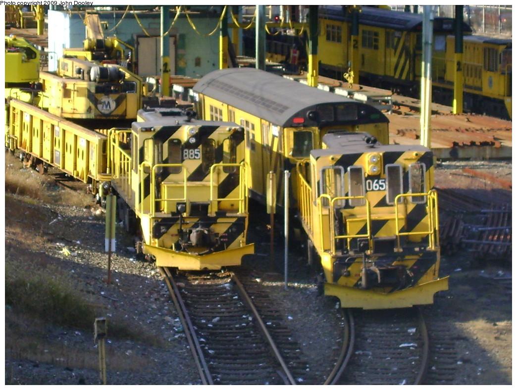 (269k, 1044x788)<br><b>Country:</b> United States<br><b>City:</b> New York<br><b>System:</b> New York City Transit<br><b>Location:</b> 36th Street Yard<br><b>Car:</b> R-77 Locomotive  885 <br><b>Photo by:</b> John Dooley<br><b>Date:</b> 11/3/2009<br><b>Notes:</b> With R47 Loco 65<br><b>Viewed (this week/total):</b> 0 / 871