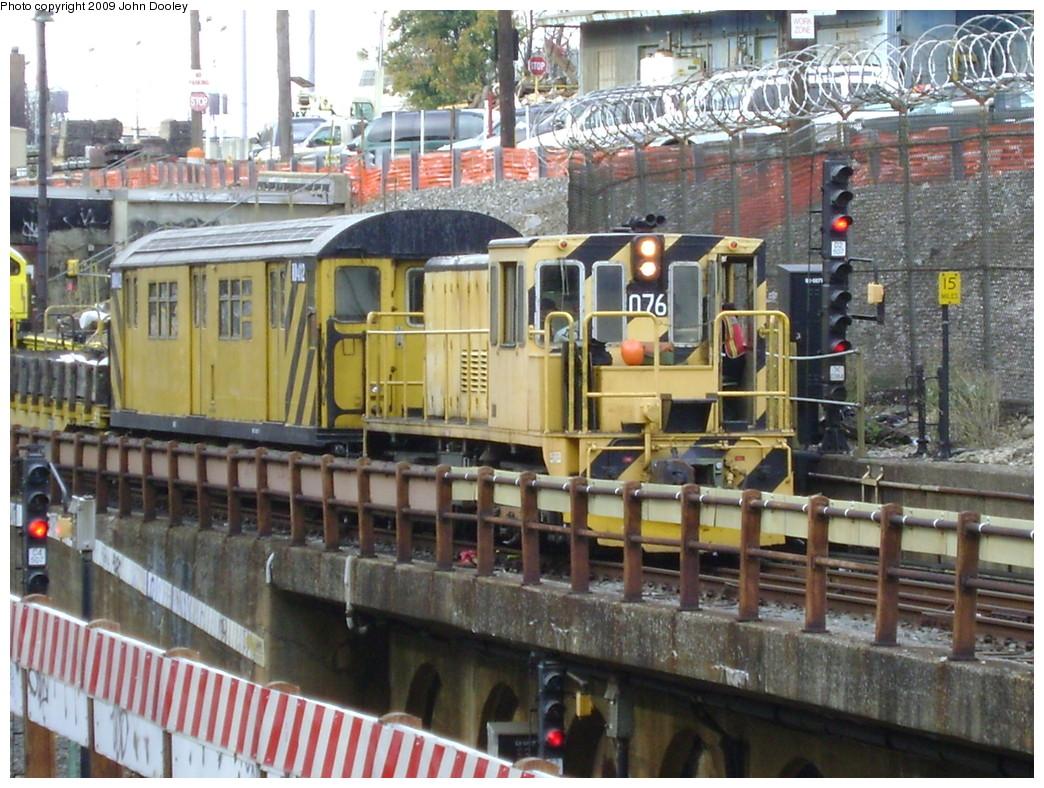 (289k, 1044x788)<br><b>Country:</b> United States<br><b>City:</b> New York<br><b>System:</b> New York City Transit<br><b>Line:</b> BMT West End Line<br><b>Location:</b> 9th Avenue <br><b>Car:</b> R-52 Locomotive  76 <br><b>Photo by:</b> John Dooley<br><b>Date:</b> 11/4/2009<br><b>Viewed (this week/total):</b> 0 / 987