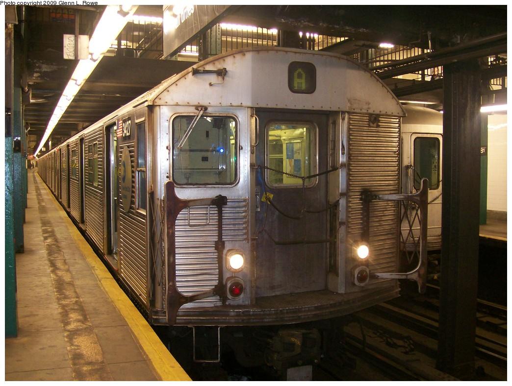 (231k, 1044x788)<br><b>Country:</b> United States<br><b>City:</b> New York<br><b>System:</b> New York City Transit<br><b>Line:</b> IND 8th Avenue Line<br><b>Location:</b> 181st Street <br><b>Route:</b> A<br><b>Car:</b> R-32 (Budd, 1964)  3427 <br><b>Photo by:</b> Glenn L. Rowe<br><b>Date:</b> 10/14/2009<br><b>Viewed (this week/total):</b> 1 / 1081