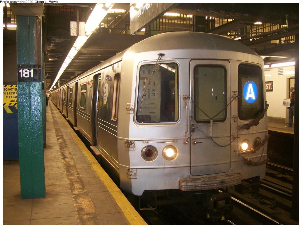 (225k, 1044x788)<br><b>Country:</b> United States<br><b>City:</b> New York<br><b>System:</b> New York City Transit<br><b>Line:</b> IND 8th Avenue Line<br><b>Location:</b> 181st Street <br><b>Route:</b> A<br><b>Car:</b> R-46 (Pullman-Standard, 1974-75) 6248 <br><b>Photo by:</b> Glenn L. Rowe<br><b>Date:</b> 10/22/2009<br><b>Viewed (this week/total):</b> 2 / 1296