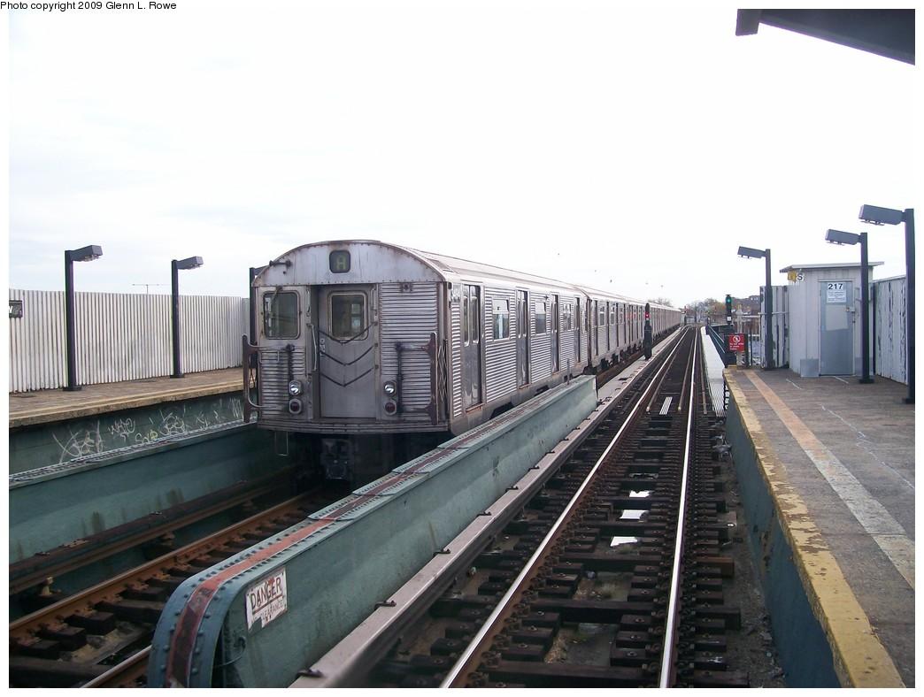 (179k, 1044x788)<br><b>Country:</b> United States<br><b>City:</b> New York<br><b>System:</b> New York City Transit<br><b>Line:</b> IND Fulton Street Line<br><b>Location:</b> 111th Street/Greenwood Avenue <br><b>Route:</b> A<br><b>Car:</b> R-32 (Budd, 1964)  3494 <br><b>Photo by:</b> Glenn L. Rowe<br><b>Date:</b> 11/2/2009<br><b>Viewed (this week/total):</b> 2 / 1315
