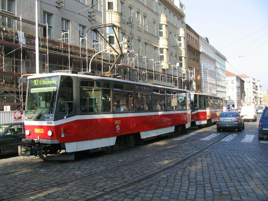 (169k, 1024x768)<br><b>Country:</b> Czech Republic<br><b>City:</b> Prague<br><b>System:</b> DPP (Dopravni podnik Prahy)<br><b>Location:</b> Jugoslavska <br><b>Route:</b> 10<br><b>Car:</b> Tatra T6A5  8603 + 8604  <br><b>Photo by:</b> Jos Straathof<br><b>Date:</b> 7/15/2005<br><b>Viewed (this week/total):</b> 0 / 269