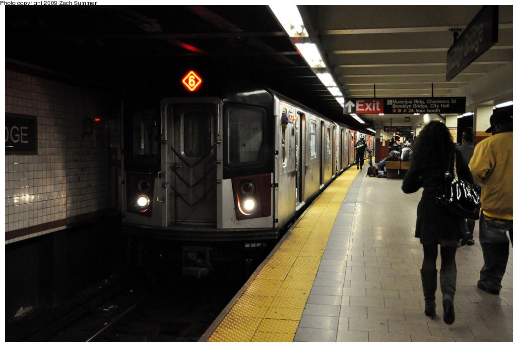(200k, 1044x700)<br><b>Country:</b> United States<br><b>City:</b> New York<br><b>System:</b> New York City Transit<br><b>Line:</b> IRT East Side Line<br><b>Location:</b> Brooklyn Bridge/City Hall <br><b>Route:</b> 6<br><b>Car:</b> R-142A (Option Order, Kawasaki, 2002-2003)  7620 <br><b>Photo by:</b> Zach Summer<br><b>Date:</b> 10/23/2009<br><b>Viewed (this week/total):</b> 0 / 2292