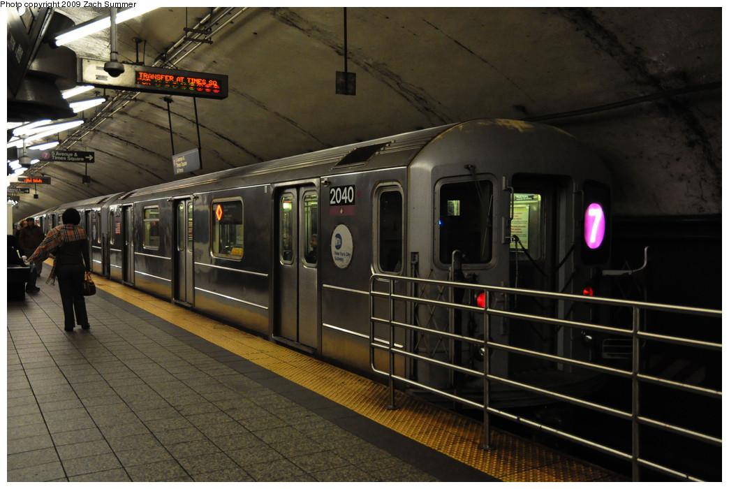 (235k, 1044x700)<br><b>Country:</b> United States<br><b>City:</b> New York<br><b>System:</b> New York City Transit<br><b>Line:</b> IRT Flushing Line<br><b>Location:</b> Grand Central <br><b>Route:</b> 7<br><b>Car:</b> R-62A (Bombardier, 1984-1987)  2040 <br><b>Photo by:</b> Zach Summer<br><b>Date:</b> 10/23/2009<br><b>Viewed (this week/total):</b> 2 / 1354