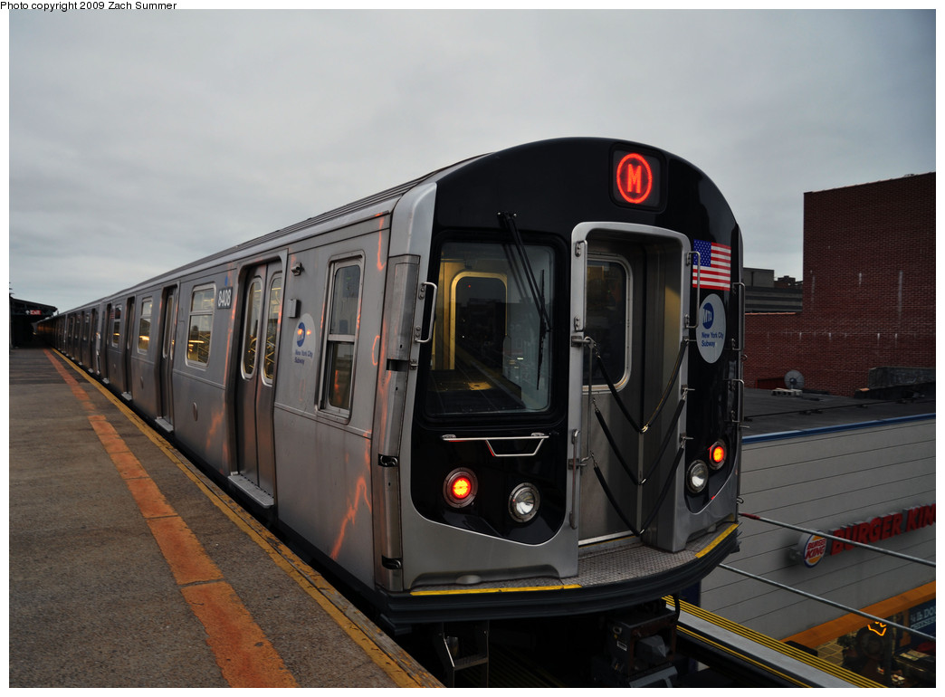 (205k, 1044x770)<br><b>Country:</b> United States<br><b>City:</b> New York<br><b>System:</b> New York City Transit<br><b>Line:</b> BMT West End Line<br><b>Location:</b> Bay Parkway <br><b>Route:</b> M<br><b>Car:</b> R-160A-1 (Alstom, 2005-2008, 4 car sets)  8408 <br><b>Photo by:</b> Zach Summer<br><b>Date:</b> 10/23/2009<br><b>Viewed (this week/total):</b> 0 / 1332