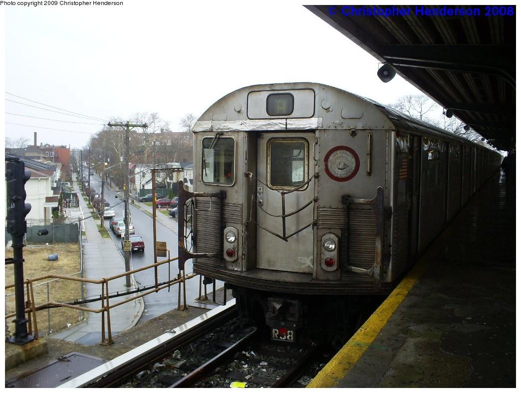 (203k, 1044x788)<br><b>Country:</b> United States<br><b>City:</b> New York<br><b>System:</b> New York City Transit<br><b>Line:</b> IND Rockaway<br><b>Location:</b> Mott Avenue/Far Rockaway <br><b>Route:</b> A<br><b>Car:</b> R-38 (St. Louis, 1966-1967)  4063 <br><b>Photo by:</b> Christopher Henderson<br><b>Date:</b> 12/10/2008<br><b>Viewed (this week/total):</b> 0 / 1008