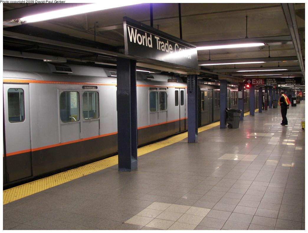 (249k, 1044x788)<br><b>Country:</b> United States<br><b>City:</b> New York<br><b>System:</b> New York City Transit<br><b>Line:</b> IND 8th Avenue Line<br><b>Location:</b> Chambers Street/World Trade Center <br><b>Route:</b> Fan Trip<br><b>Car:</b> R-7A (Pullman, 1938)  1575 <br><b>Photo by:</b> David-Paul Gerber<br><b>Date:</b> 11/19/2009<br><b>Notes:</b> Rockettes Special<br><b>Viewed (this week/total):</b> 1 / 1592