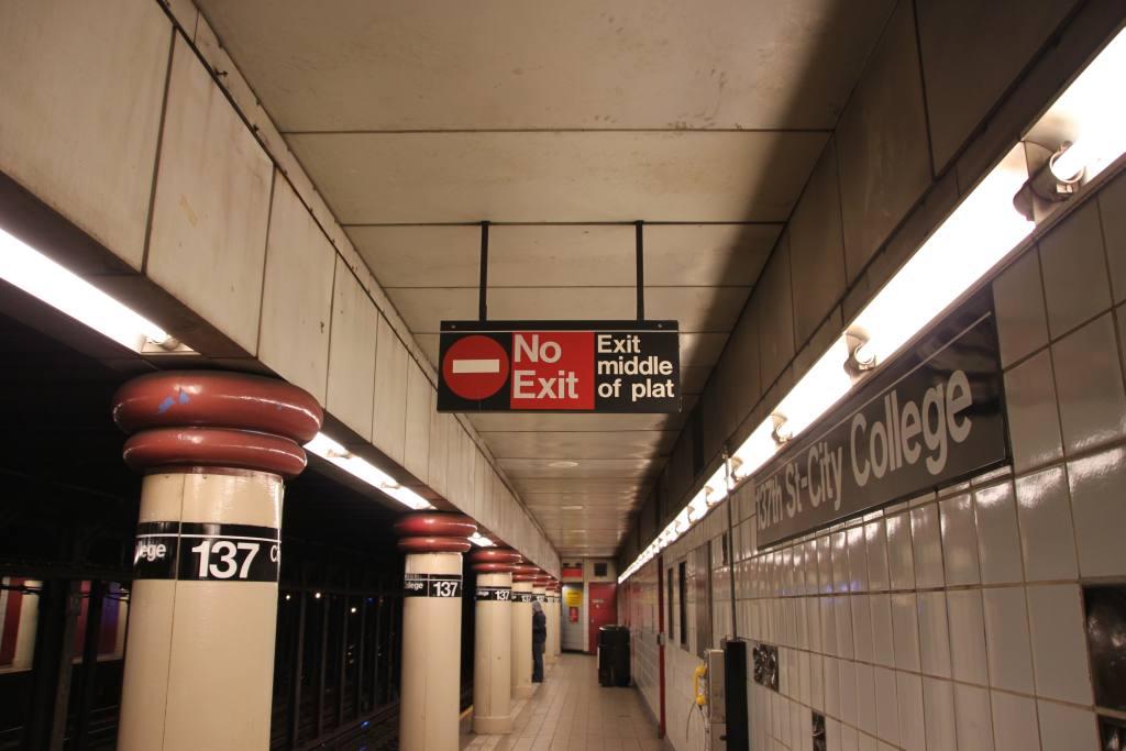 (92k, 1024x683)<br><b>Country:</b> United States<br><b>City:</b> New York<br><b>System:</b> New York City Transit<br><b>Line:</b> IRT West Side Line<br><b>Location:</b> 137th Street/City College <br><b>Photo by:</b> Robbie Rosenfeld<br><b>Date:</b> 11/17/2009<br><b>Notes:</b> Abbrev sign at 137 St/City Col<br><b>Viewed (this week/total):</b> 3 / 1674