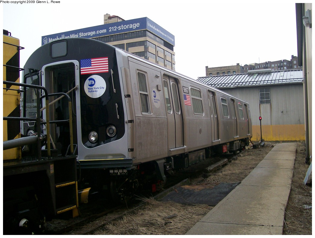 (197k, 1044x788)<br><b>Country:</b> United States<br><b>City:</b> New York<br><b>System:</b> New York City Transit<br><b>Location:</b> 207th Street Yard<br><b>Car:</b> R-160B (Option 2) (Kawasaki, 2009)  9867 <br><b>Photo by:</b> Glenn L. Rowe<br><b>Date:</b> 11/12/2009<br><b>Viewed (this week/total):</b> 0 / 1377