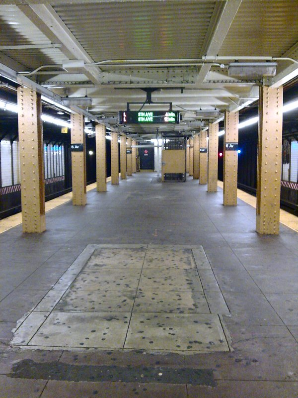 (115k, 600x800)<br><b>Country:</b> United States<br><b>City:</b> New York<br><b>System:</b> New York City Transit<br><b>Line:</b> BMT Canarsie Line<br><b>Location:</b> 6th Avenue <br><b>Photo by:</b> Bill E.<br><b>Date:</b> 10/31/2009<br><b>Notes:</b> Former stairway?<br><b>Viewed (this week/total):</b> 0 / 1349