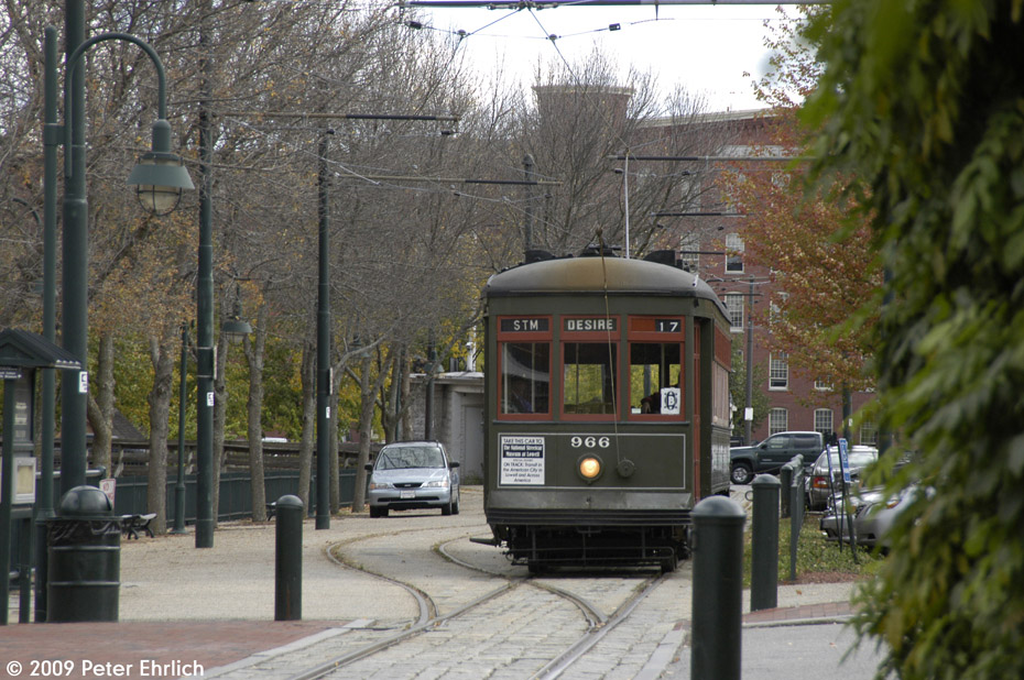 (214k, 930x618)<br><b>Country:</b> United States<br><b>City:</b> Lowell, MA<br><b>System:</b> National Streetcar Museum at Lowell <br><b>Car:</b> New Orleans Public Service (Perley A. Thomas Car Works, 1924) 966 <br><b>Photo by:</b> Peter Ehrlich<br><b>Date:</b> 10/11/2009<br><b>Notes:</b> Boott Cotton Mill<br><b>Viewed (this week/total):</b> 1 / 1138