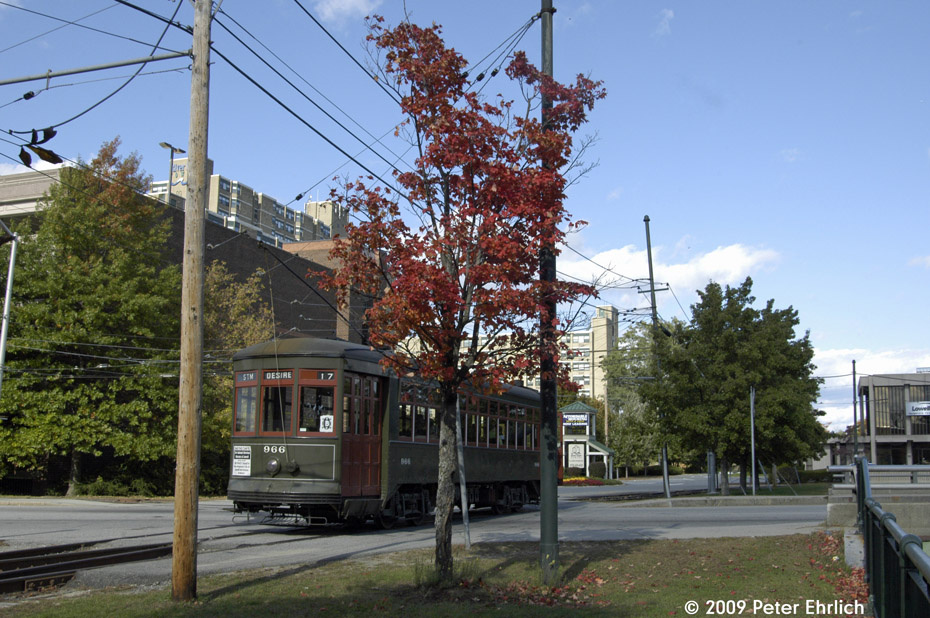 (223k, 930x618)<br><b>Country:</b> United States<br><b>City:</b> Lowell, MA<br><b>System:</b> National Streetcar Museum at Lowell <br><b>Car:</b> New Orleans Public Service (Perley A. Thomas Car Works, 1924) 966 <br><b>Photo by:</b> Peter Ehrlich<br><b>Date:</b> 10/11/2009<br><b>Notes:</b> French Street, outbound<br><b>Viewed (this week/total):</b> 0 / 737