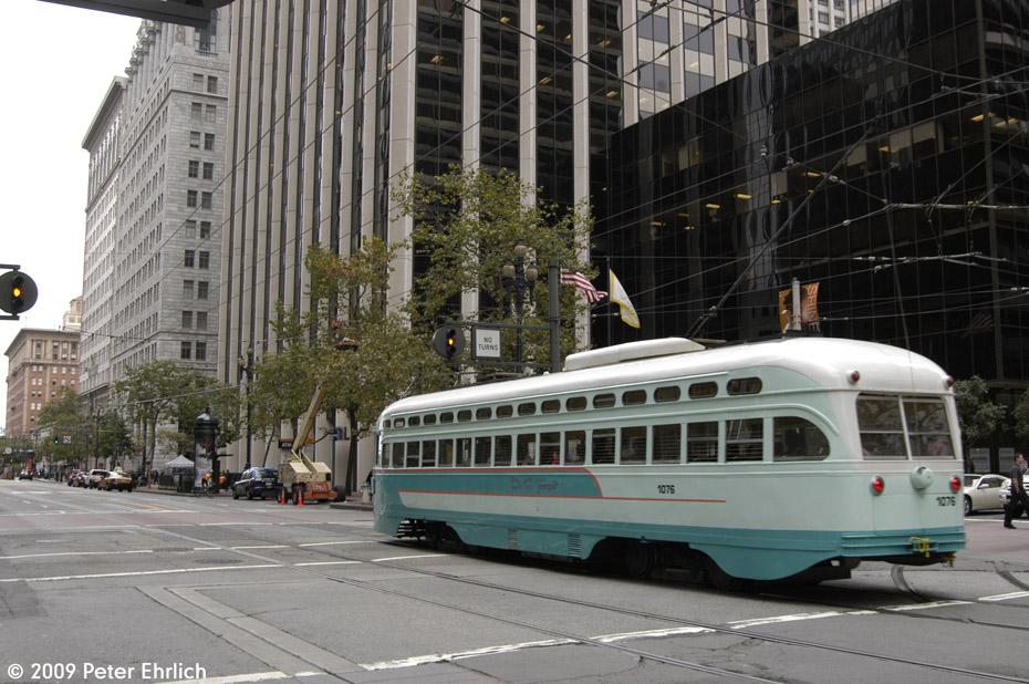(201k, 930x618)<br><b>Country:</b> United States<br><b>City:</b> San Francisco/Bay Area, CA<br><b>System:</b> SF MUNI<br><b>Location:</b> Market/Fremont <br><b>Car:</b> SF MUNI PCC (Ex-NJTransit, Ex-Twin City) (St. Louis Car Co., 1946-1947)  1076 <br><b>Photo by:</b> Peter Ehrlich<br><b>Date:</b> 11/5/2009<br><b>Notes:</b> Inbound.<br><b>Viewed (this week/total):</b> 0 / 297