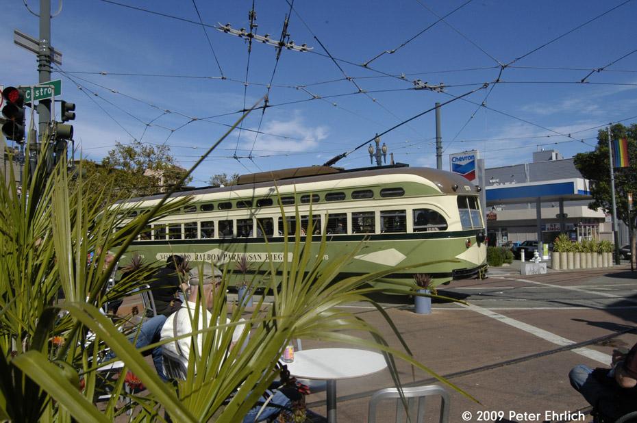 (234k, 930x618)<br><b>Country:</b> United States<br><b>City:</b> San Francisco/Bay Area, CA<br><b>System:</b> SF MUNI<br><b>Location:</b> Market/17th/Castro <br><b>Car:</b> SF MUNI PCC (Ex-NJTransit, Ex-Twin City) (St. Louis Car Co., 1946-1947)  1078 <br><b>Photo by:</b> Peter Ehrlich<br><b>Date:</b> 10/17/2009<br><b>Notes:</b> Leaving 17th Street/Castro Terminal.<br><b>Viewed (this week/total):</b> 0 / 263