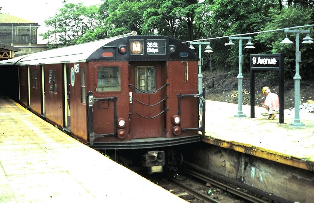 (216k, 1024x664)<br><b>Country:</b> United States<br><b>City:</b> New York<br><b>System:</b> New York City Transit<br><b>Line:</b> BMT West End Line<br><b>Location:</b> 9th Avenue <br><b>Route:</b> M<br><b>Car:</b> R-30 (St. Louis, 1961) 8257 <br><b>Collection of:</b> John Barnes<br><b>Date:</b> 6/3/1987<br><b>Viewed (this week/total):</b> 3 / 2898