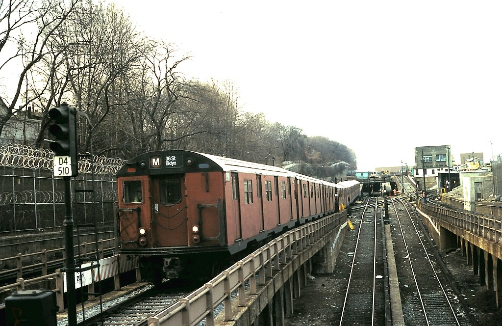 (234k, 1024x664)<br><b>Country:</b> United States<br><b>City:</b> New York<br><b>System:</b> New York City Transit<br><b>Line:</b> BMT West End Line<br><b>Location:</b> 9th Avenue <br><b>Route:</b> M<br><b>Car:</b> R-30 (St. Louis, 1961) 8308 <br><b>Collection of:</b> John Barnes<br><b>Date:</b> 2/9/1988<br><b>Viewed (this week/total):</b> 4 / 2740
