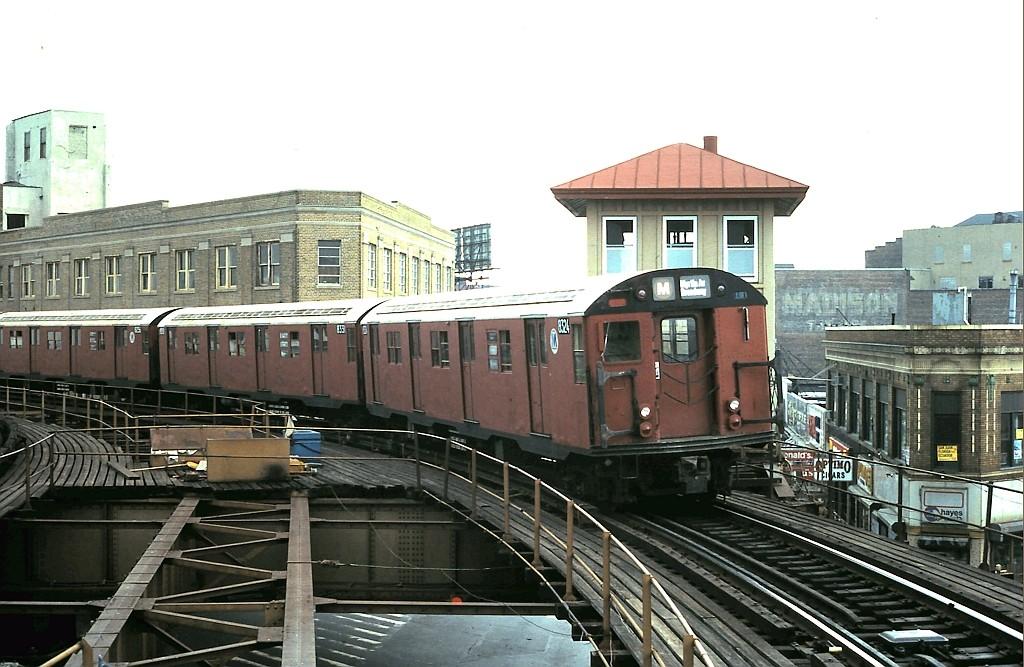 (193k, 1024x667)<br><b>Country:</b> United States<br><b>City:</b> New York<br><b>System:</b> New York City Transit<br><b>Line:</b> BMT Myrtle Avenue Line<br><b>Location:</b> Wyckoff Avenue <br><b>Route:</b> M<br><b>Car:</b> R-30 (St. Louis, 1961) 8324 <br><b>Collection of:</b> John Barnes<br><b>Date:</b> 7/26/1987<br><b>Viewed (this week/total):</b> 4 / 3434