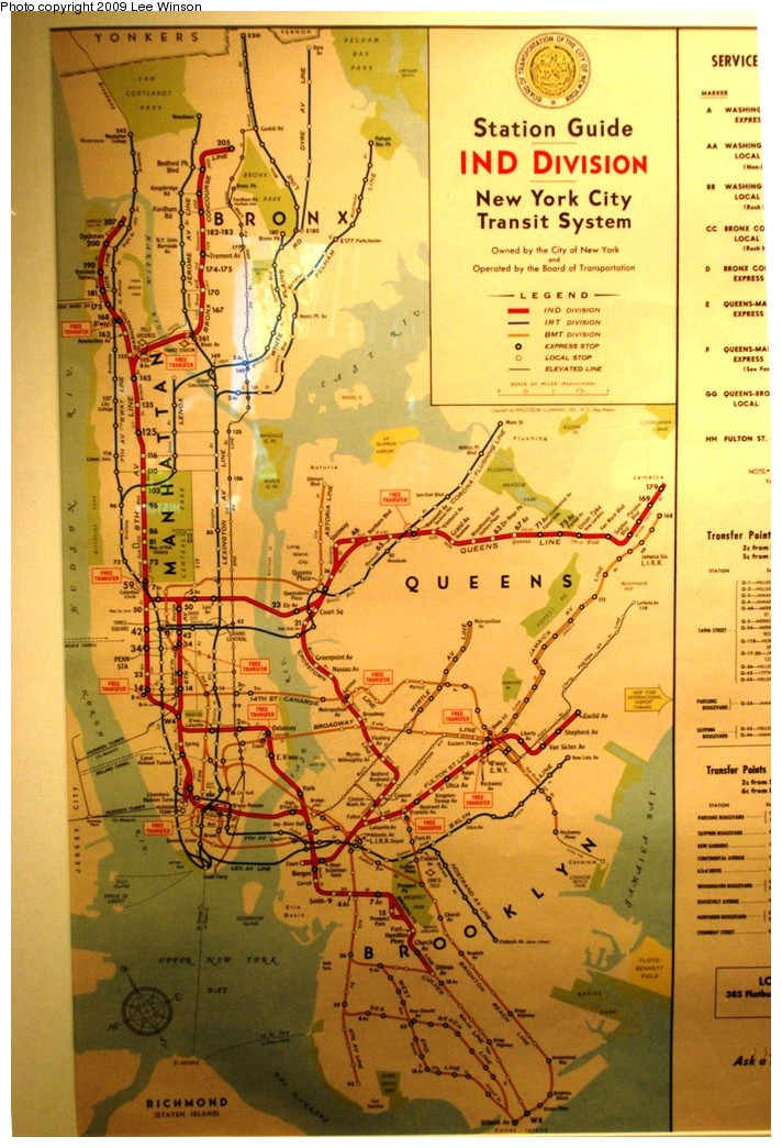(263k, 712x1044)<br><b>Country:</b> United States<br><b>City:</b> New York<br><b>System:</b> New York City Transit<br><b>Location:</b> New York Transit Museum<br><b>Photo by:</b> Lee Winson<br><b>Date:</b> 10/11/2009<br><b>Notes:</b> Old subway map on display at Transit Museum annex (circa 1950?) Shows free transfers, some elevated lines, Canarsie trolley.<br><b>Viewed (this week/total):</b> 0 / 1430