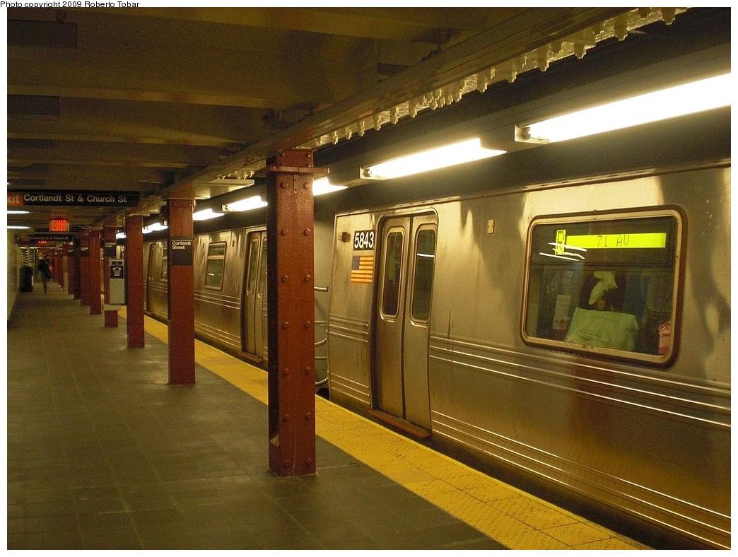 (273k, 1044x788)<br><b>Country:</b> United States<br><b>City:</b> New York<br><b>System:</b> New York City Transit<br><b>Line:</b> BMT Broadway Line<br><b>Location:</b> Cortlandt Street-World Trade Center <br><b>Route:</b> R<br><b>Car:</b> R-46 (Pullman-Standard, 1974-75) 5843 <br><b>Photo by:</b> Roberto C. Tobar<br><b>Date:</b> 11/28/2009<br><b>Notes:</b> Northbound side, reopened 11/25/2009<br><b>Viewed (this week/total):</b> 2 / 1485