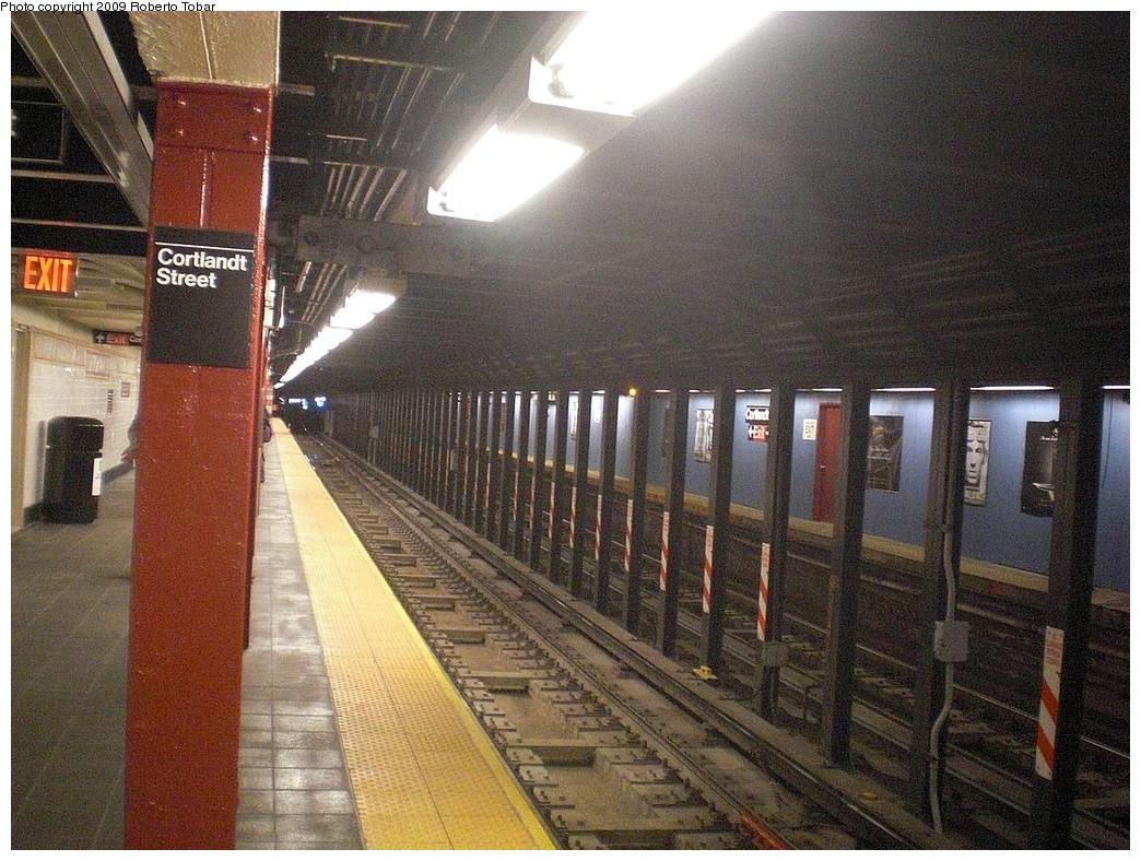 (317k, 1044x788)<br><b>Country:</b> United States<br><b>City:</b> New York<br><b>System:</b> New York City Transit<br><b>Line:</b> BMT Broadway Line<br><b>Location:</b> Cortlandt Street-World Trade Center <br><b>Route:</b> R<br><b>Car:</b> R-46 (Pullman-Standard, 1974-75) 5843 <br><b>Photo by:</b> Roberto C. Tobar<br><b>Date:</b> 11/28/2009<br><b>Notes:</b> Northbound side, reopened 11/25/2009<br><b>Viewed (this week/total):</b> 1 / 1452