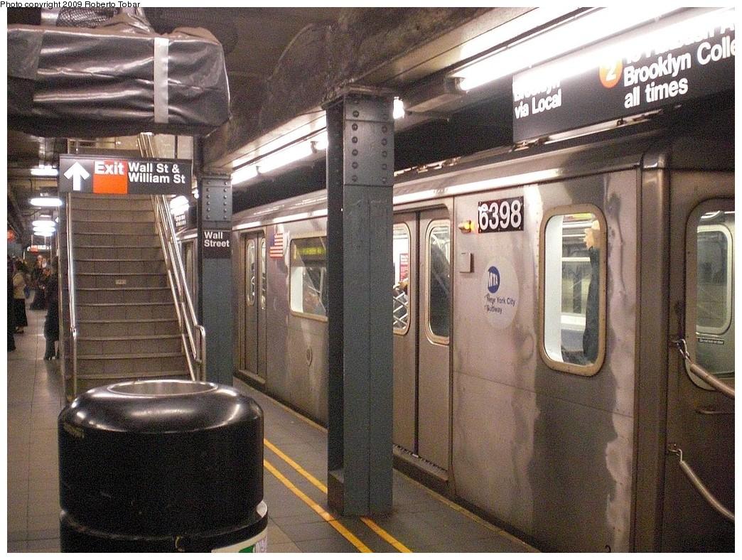 (319k, 1044x788)<br><b>Country:</b> United States<br><b>City:</b> New York<br><b>System:</b> New York City Transit<br><b>Line:</b> IRT West Side Line<br><b>Location:</b> Wall Street <br><b>Route:</b> 2<br><b>Car:</b> R-142 (Primary Order, Bombardier, 1999-2002)  6398 <br><b>Photo by:</b> Roberto C. Tobar<br><b>Date:</b> 11/6/2009<br><b>Viewed (this week/total):</b> 2 / 2008
