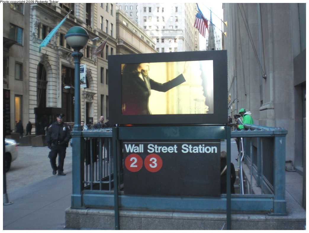 (204k, 1044x788)<br><b>Country:</b> United States<br><b>City:</b> New York<br><b>System:</b> New York City Transit<br><b>Line:</b> IRT West Side Line<br><b>Location:</b> Wall Street<br><b>Photo by:</b> Roberto C. Tobar<br><b>Date:</b> 11/6/2009<br><b>Notes:</b> Station entrance.<br><b>Viewed (this week/total):</b> 2 / 2206