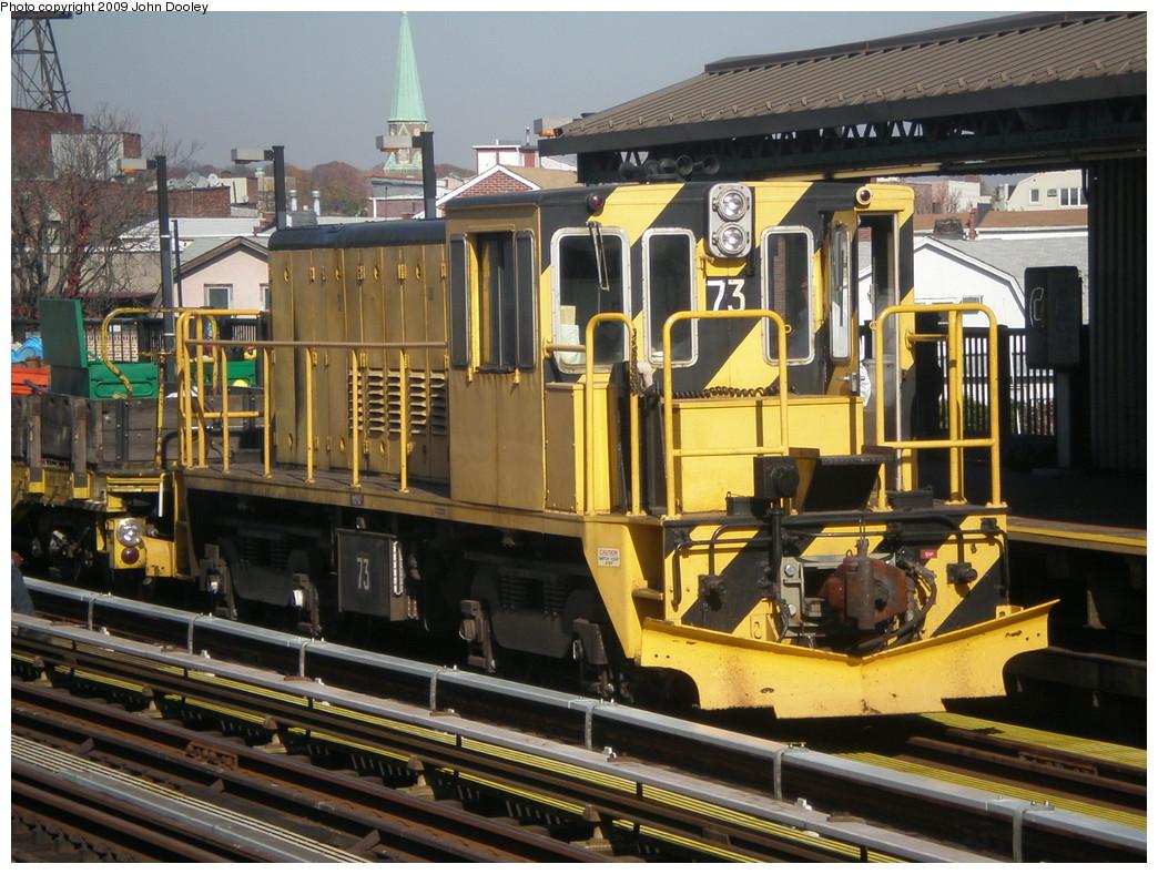(277k, 1044x788)<br><b>Country:</b> United States<br><b>City:</b> New York<br><b>System:</b> New York City Transit<br><b>Line:</b> BMT West End Line<br><b>Location:</b> 50th Street <br><b>Route:</b> Work Service<br><b>Car:</b> R-52 Locomotive  73 <br><b>Photo by:</b> John Dooley<br><b>Date:</b> 11/8/2009<br><b>Viewed (this week/total):</b> 3 / 729