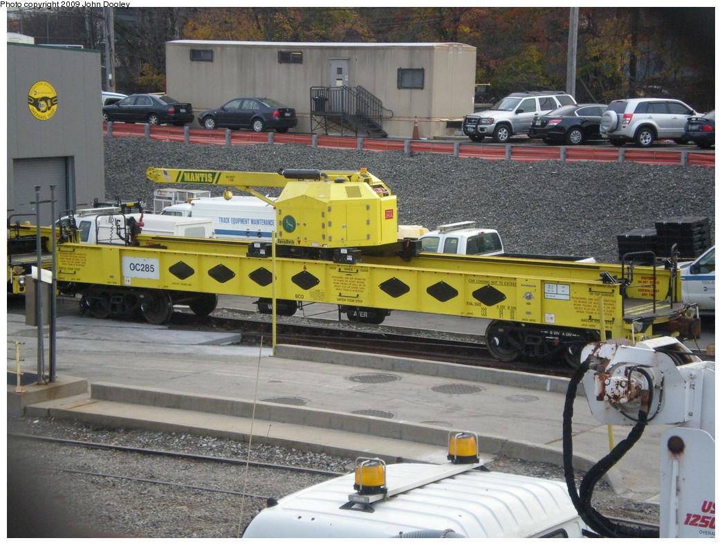 (286k, 1044x788)<br><b>Country:</b> United States<br><b>City:</b> New York<br><b>System:</b> New York City Transit<br><b>Location:</b> 36th Street Yard<br><b>Route:</b> Work Service<br><b>Car:</b> R-162 Crane Car  285 <br><b>Photo by:</b> John Dooley<br><b>Date:</b> 11/18/2009<br><b>Viewed (this week/total):</b> 4 / 984
