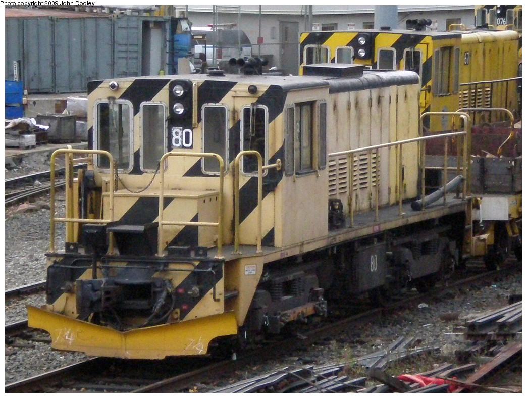(321k, 1044x788)<br><b>Country:</b> United States<br><b>City:</b> New York<br><b>System:</b> New York City Transit<br><b>Location:</b> 36th Street Yard<br><b>Car:</b> R-52 Locomotive  80 <br><b>Photo by:</b> John Dooley<br><b>Date:</b> 11/18/2009<br><b>Viewed (this week/total):</b> 0 / 566
