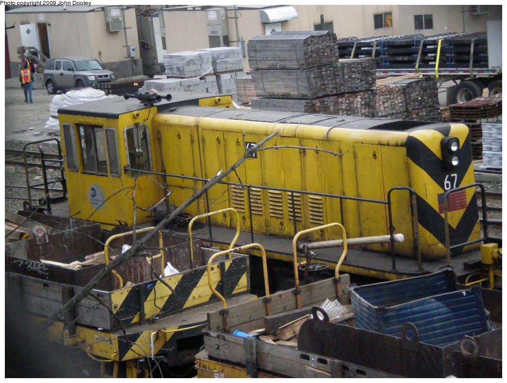 (331k, 1044x788)<br><b>Country:</b> United States<br><b>City:</b> New York<br><b>System:</b> New York City Transit<br><b>Location:</b> 36th Street Yard<br><b>Car:</b> R-47 Locomotive  67 <br><b>Photo by:</b> John Dooley<br><b>Date:</b> 11/18/2009<br><b>Viewed (this week/total):</b> 0 / 906