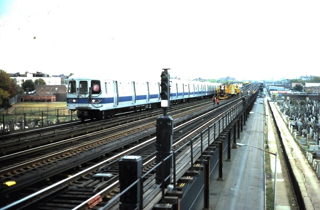 (159k, 1024x672)<br><b>Country:</b> United States<br><b>City:</b> New York<br><b>System:</b> New York City Transit<br><b>Line:</b> BMT Culver Line<br><b>Location:</b> Bay Parkway (22nd Avenue) <br><b>Route:</b> F<br><b>Car:</b> R-46 (Pullman-Standard, 1974-75)  <br><b>Collection of:</b> John Barnes<br><b>Date:</b> 11/2/1985<br><b>Viewed (this week/total):</b> 2 / 2093