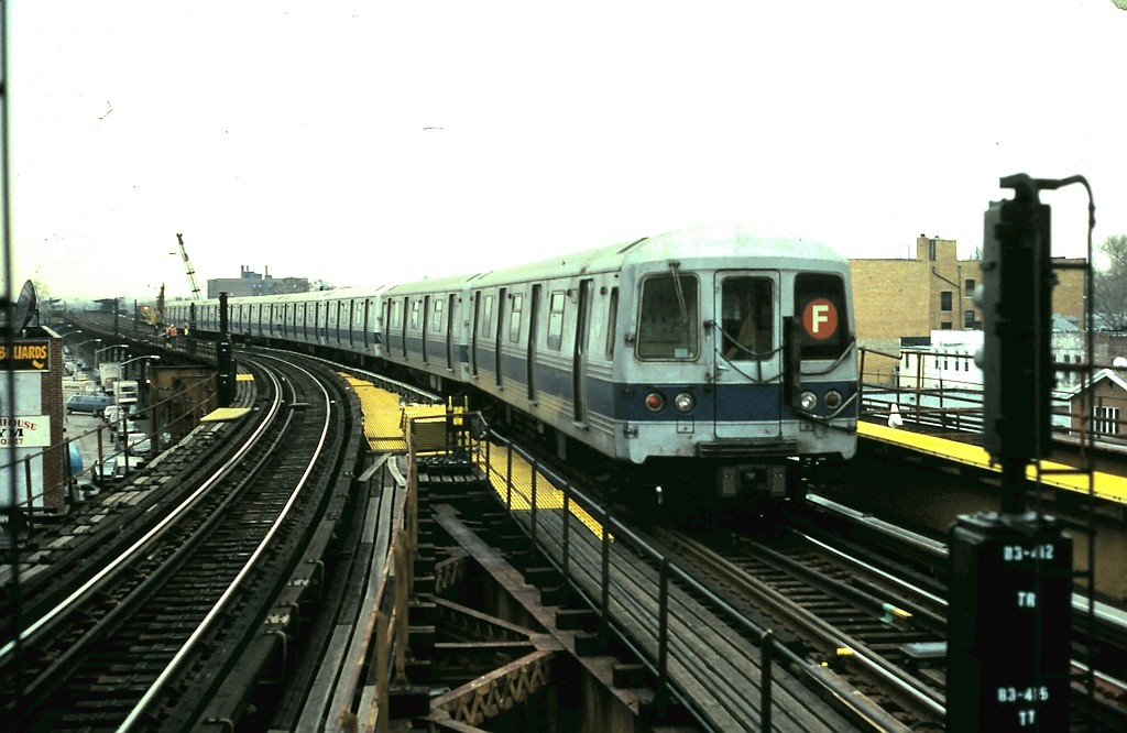 (154k, 1024x666)<br><b>Country:</b> United States<br><b>City:</b> New York<br><b>System:</b> New York City Transit<br><b>Line:</b> BMT Culver Line<br><b>Location:</b> Kings Highway <br><b>Route:</b> F<br><b>Car:</b> R-46 (Pullman-Standard, 1974-75)  <br><b>Collection of:</b> John Barnes<br><b>Date:</b> 2/6/1991<br><b>Viewed (this week/total):</b> 3 / 2274