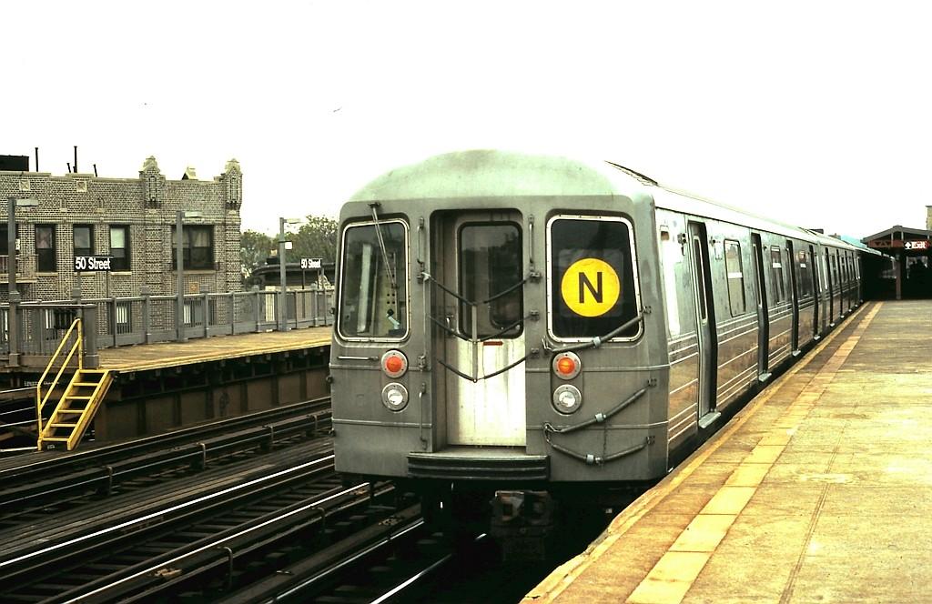 (179k, 1024x664)<br><b>Country:</b> United States<br><b>City:</b> New York<br><b>System:</b> New York City Transit<br><b>Line:</b> BMT West End Line<br><b>Location:</b> 50th Street <br><b>Route:</b> N reroute<br><b>Car:</b> R-68 (Westinghouse-Amrail, 1986-1988)   <br><b>Collection of:</b> John Barnes<br><b>Date:</b> 5/21/1988<br><b>Viewed (this week/total):</b> 2 / 2218