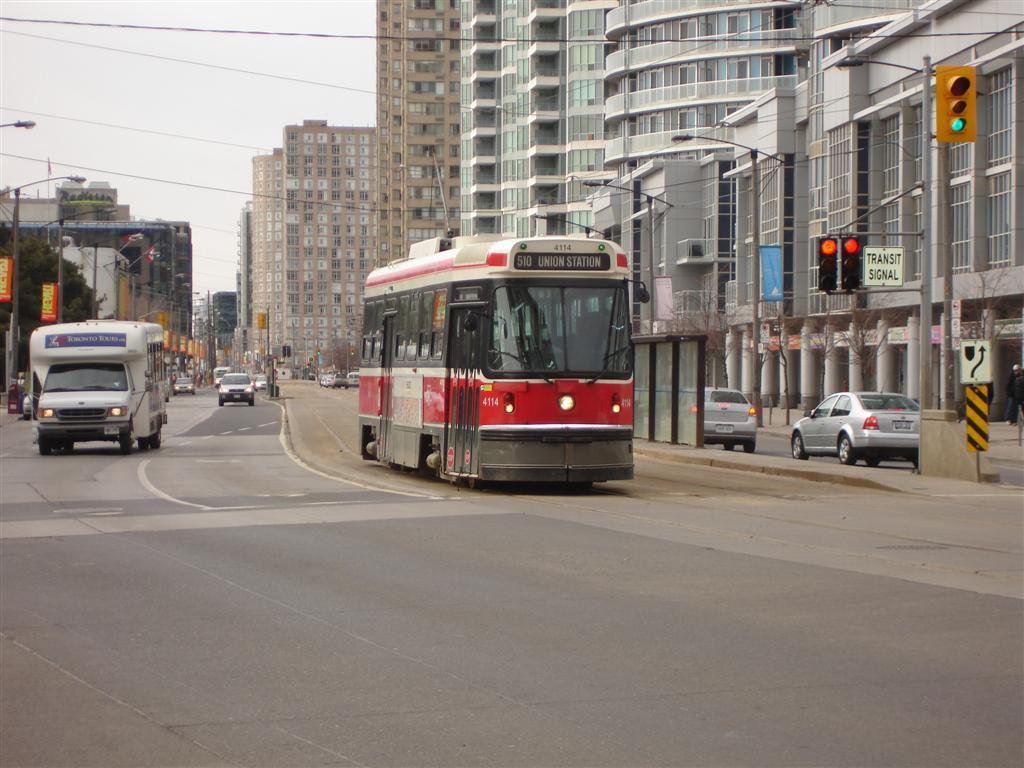 (118k, 1024x768)<br><b>Country:</b> Canada<br><b>City:</b> Toronto<br><b>System:</b> TTC<br><b>Line:</b> TTC 510-Spadina<br><b>Location:</b> Queens Quay/York<br><b>Car:</b> TTC CLRV 4114 <br><b>Photo by:</b> Fran Rogers<br><b>Date:</b> 2/14/2009<br><b>Viewed (this week/total):</b> 0 / 434