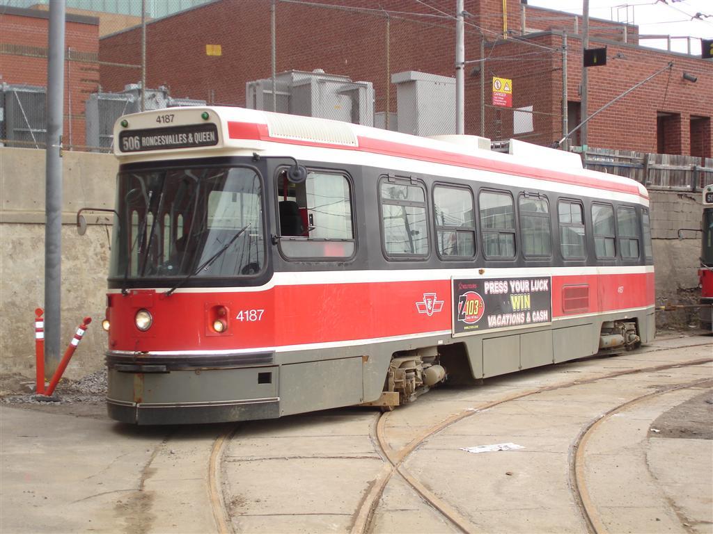 (133k, 1024x768)<br><b>Country:</b> Canada<br><b>City:</b> Toronto<br><b>System:</b> TTC<br><b>Line:</b> TTC 506-Carlton<br><b>Location:</b> The Queensway/Roncesvalles Carhouse <br><b>Car:</b> TTC CLRV 4187 <br><b>Photo by:</b> Fran Rogers<br><b>Date:</b> 2/14/2009<br><b>Viewed (this week/total):</b> 0 / 565