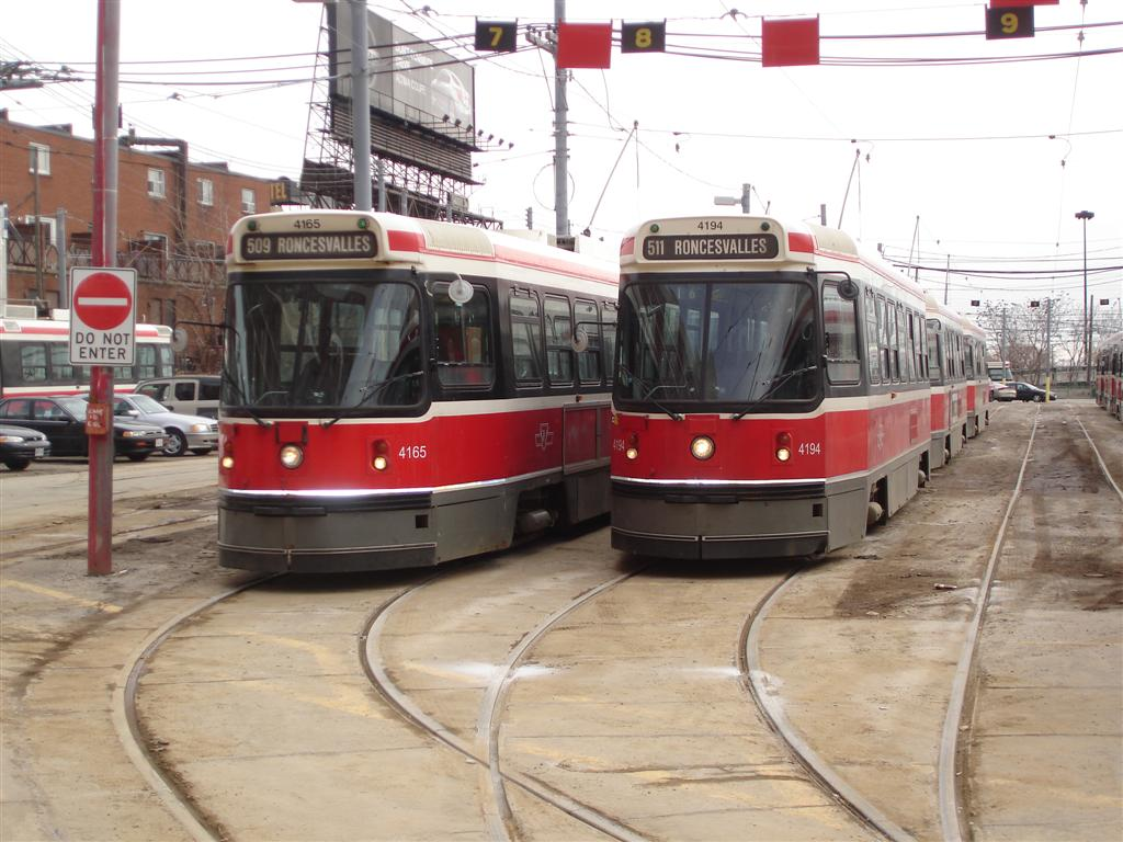 (126k, 1024x768)<br><b>Country:</b> Canada<br><b>City:</b> Toronto<br><b>System:</b> TTC<br><b>Line:</b> TTC 511-Bathurst<br><b>Location:</b> The Queensway/Roncesvalles Carhouse <br><b>Car:</b> TTC CLRV 4165/4194 <br><b>Photo by:</b> Fran Rogers<br><b>Date:</b> 2/14/2009<br><b>Viewed (this week/total):</b> 0 / 419