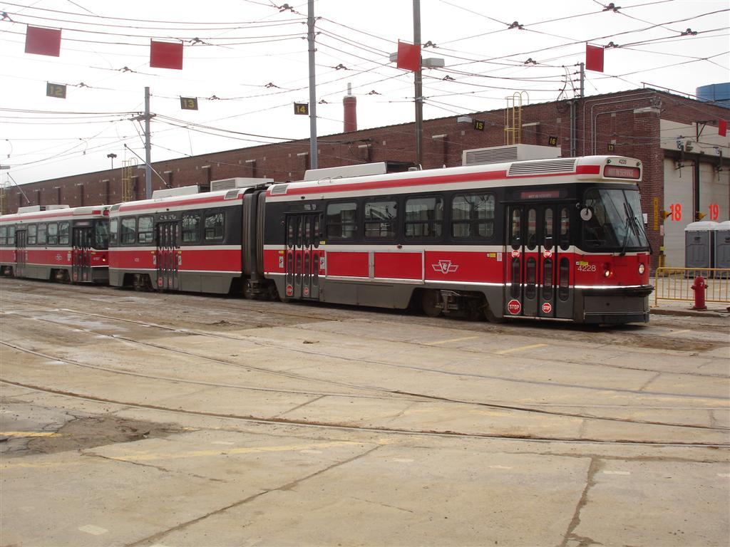 (128k, 1024x768)<br><b>Country:</b> Canada<br><b>City:</b> Toronto<br><b>System:</b> TTC<br><b>Line:</b> TTC 501-Queen<br><b>Location:</b> The Queensway/Roncesvalles Carhouse<br><b>Car:</b> TTC ALRV 4228 <br><b>Photo by:</b> Fran Rogers<br><b>Date:</b> 2/14/2009<br><b>Viewed (this week/total):</b> 0 / 658