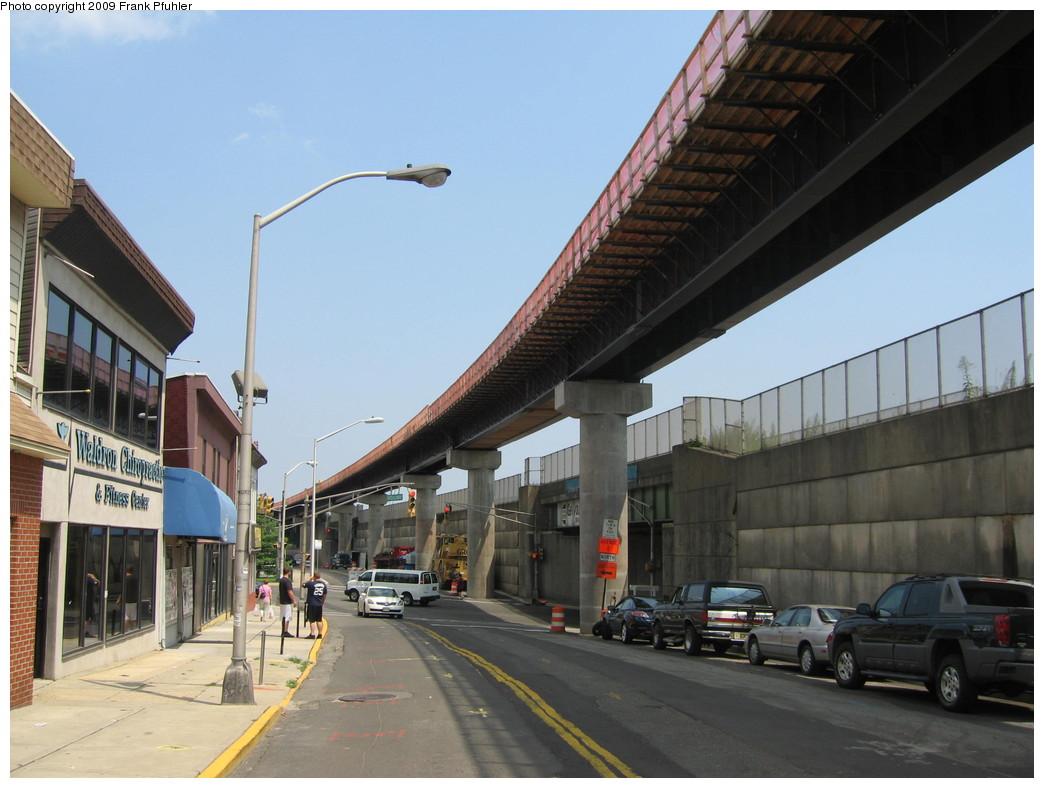 (197k, 1044x788)<br><b>Country:</b> United States<br><b>City:</b> Jersey City, NJ<br><b>System:</b> Hudson Bergen Light Rail<br><b>Location:</b> Bayonne 8th Street <br><b>Photo by:</b> Frank Pfuhler<br><b>Date:</b> 8/3/2009<br><b>Notes:</b> Construction of 8th Street extension.<br><b>Viewed (this week/total):</b> 1 / 710