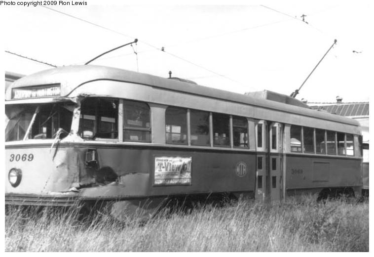 (78k, 758x520)<br><b>Country:</b> United States<br><b>City:</b> Boston, MA<br><b>System:</b> MBTA<br><b>Line:</b> MBTA Green (E)<br><b>Location:</b> Arborway/Arborway Yard<br><b>Car:</b> MBTA/BSRy PCC Wartime (Pullman-Standard, 1944)  3069 <br><b>Photo by:</b> Ron Lewis<br><b>Collection of:</b> Michael Pompili<br><b>Date:</b> 9/10/1960<br><b>Viewed (this week/total):</b> 2 / 636