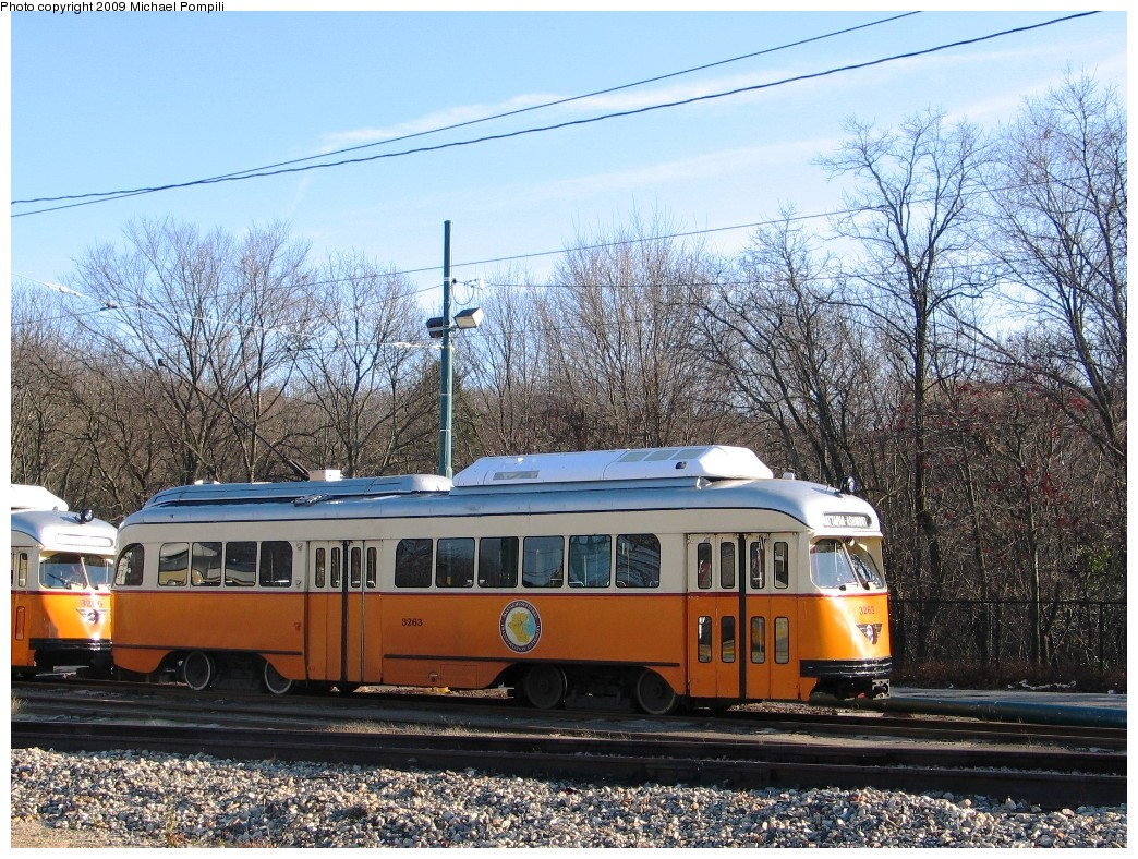 (317k, 1044x788)<br><b>Country:</b> United States<br><b>City:</b> Boston, MA<br><b>System:</b> MBTA<br><b>Line:</b> MBTA Mattapan-Ashmont Line<br><b>Location:</b> Mattapan <br><b>Car:</b> MBTA/BSRy PCC Wartime (Pullman-Standard, 1945-46)  3263 <br><b>Photo by:</b> Michael Pompili<br><b>Date:</b> 12/1/2009<br><b>Viewed (this week/total):</b> 3 / 553
