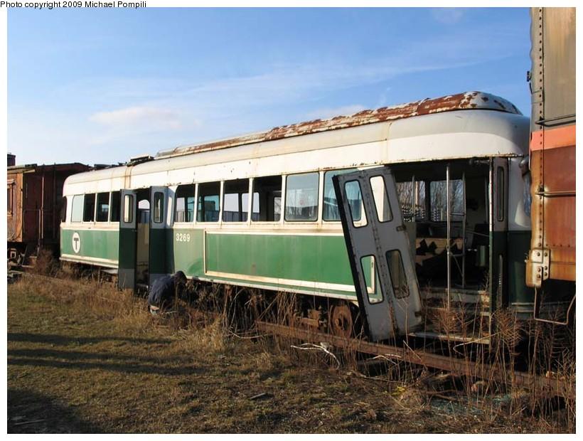 (156k, 820x620)<br><b>Country:</b> United States<br><b>City:</b> Union, IL<br><b>System:</b> Illinois Railway Museum <br><b>Car:</b> MBTA/BSRy PCC Wartime (Pullman-Standard, 1945-46)  3269 <br><b>Photo by:</b> Michael Pompili<br><b>Date:</b> 3/6/2004<br><b>Viewed (this week/total):</b> 0 / 875