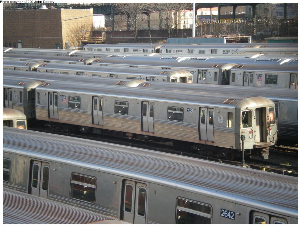 (274k, 1044x788)<br><b>Country:</b> United States<br><b>City:</b> New York<br><b>System:</b> New York City Transit<br><b>Location:</b> Concourse Yard<br><b>Car:</b> R-68 (Westinghouse-Amrail, 1986-1988)  2636 <br><b>Photo by:</b> John Dooley<br><b>Date:</b> 12/11/2009<br><b>Viewed (this week/total):</b> 3 / 920